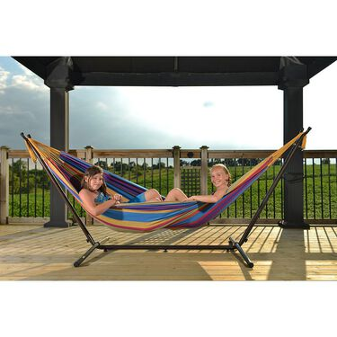 Vivere Double Hammock with 9' Stand Combo, Tropical