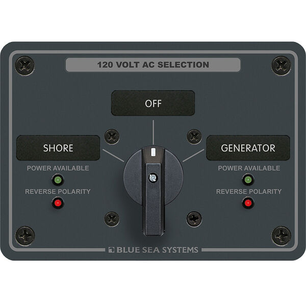 Blue Sea AC Rotary Switch Panel: 120V, 30A, 2 Sources, 2 Poles, 2 Positions+OFF