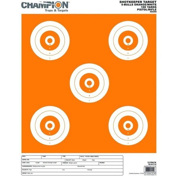 Champion Range and Target Shotkeeper Targets, White/Orange 5-Bull Large