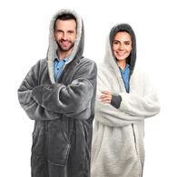 Sherpy Oversized Hoodie Blanket Reversible Sherpa Sweatshirt, Gray