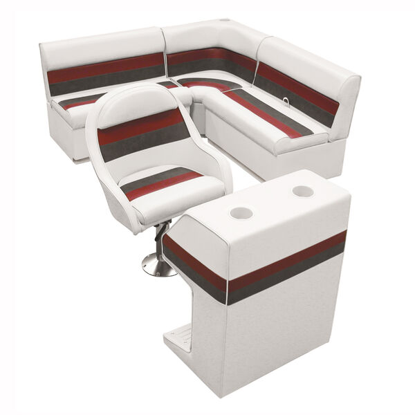 Deluxe Pontoon Furniture with Toe Kick Base - Group 2 Package, White/Red/Charcoa