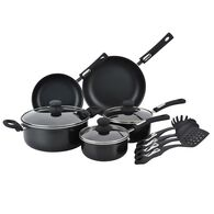 Hamilton Beach 12 Piece Aluminum Cookware Set, Black