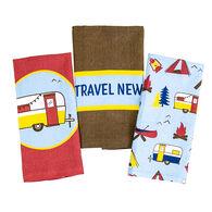 """Let's Travel New Roads"" 3-Piece Dish Towel Set"