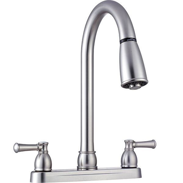 Dura Faucet Non-Metallic Dual Lever Pull-Down RV Kitchen Faucet, Brushed Satin Nickel