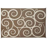 Reversible Swirl Design Patio Mat, 8' x 16', Brown/Cream