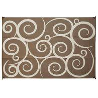 Reversible Swirl Design Patio Mat 8 X 16 Brown Cream