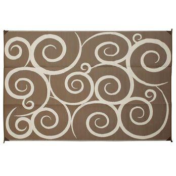 Reversible Swirl Design Patio Mat, 9' x 12', Brown/Cream