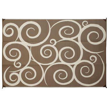 Reversible Swirl Design Patio Mat, 6' x 9', Brown/Cream