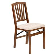 Upholstered Folding Wood Chair, Contemporary Fruitwood with Blush Fabric Seat