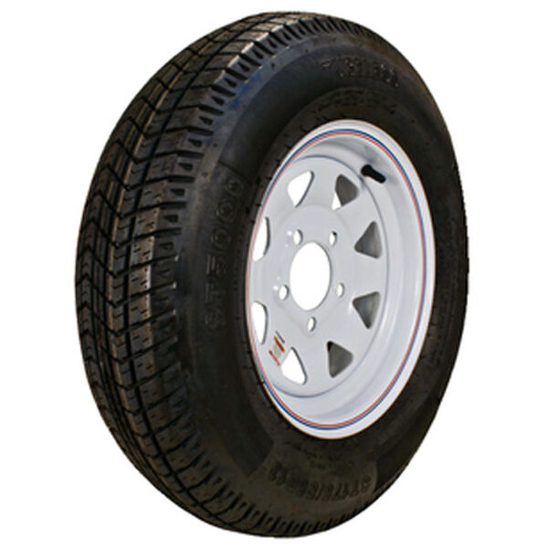 "Kenda Loadstar 12"" 480-12 K353 Bias Trailer Tire With White Wheel Assembly"