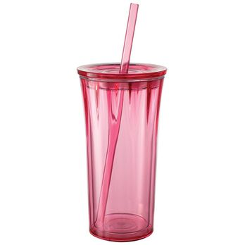 Clarion 20 oz. Tumbler with Straw, Strawberry