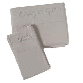 Microfiber Embroidered Sheet Set Gray, Happy Camper, Short Queen