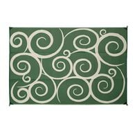 Reversible Swirl Design Patio Mat, 8' x 16', Green