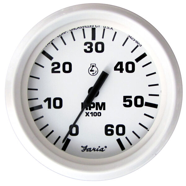 "Faria 4"" Dress White Series Tachometer, 6,000 RPM Gas Inboard & Inboard/Outboard"