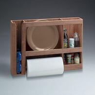 SeaForce Teak Dish/Cup/Paper Towel Rack