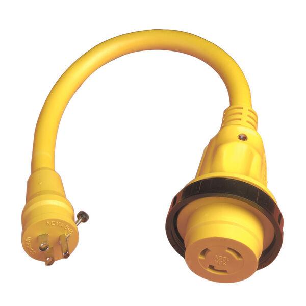 Marinco Pigtail Adapter, 30A 125V / 15A 125V Straight