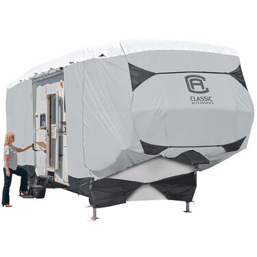 Classic Accessories SkyShield Deluxe Tyvek 5th Wheel Trailer Cover, 26'-29'