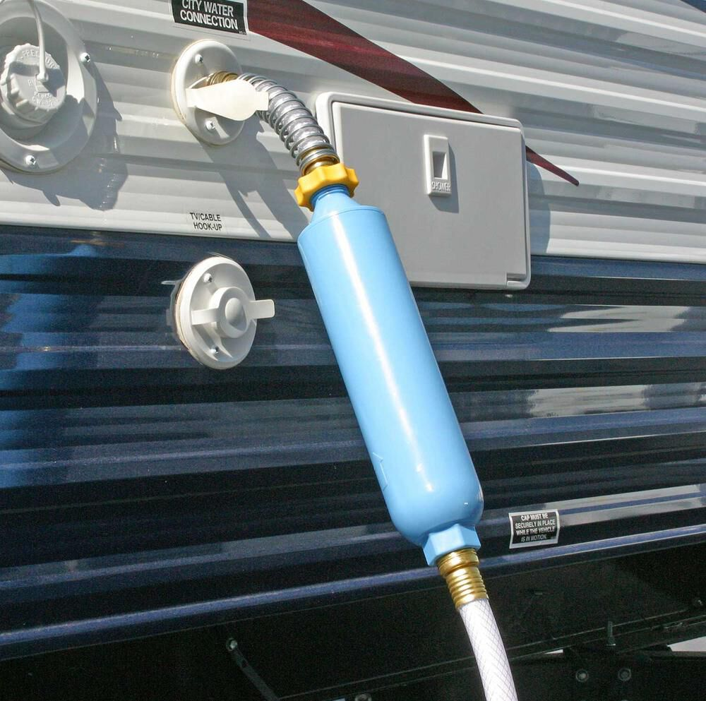 Water Filter System Inline Filter For RV Camper Trailer Flexible Hose Protector