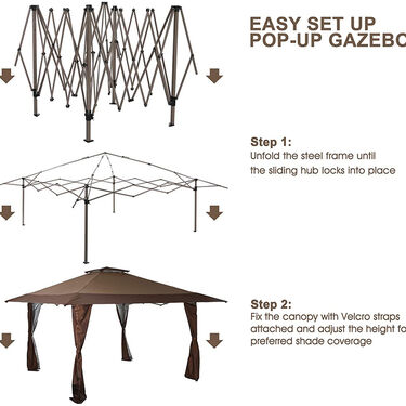 13' x 13' Pop-Up Canopy and Patio Gazebo