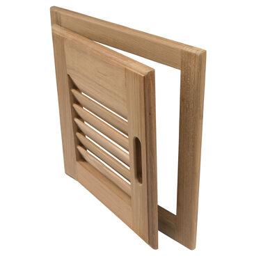 "Whitecap Teak Teak 12"" x 12"" Louvered Door & Frame, Right-Hand Opening"