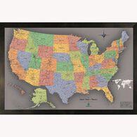 Magnetic Travel Map USA, Modern Grey, 36x24