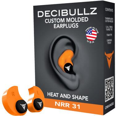 Decibullz Custom Molded Earplugs, Orange
