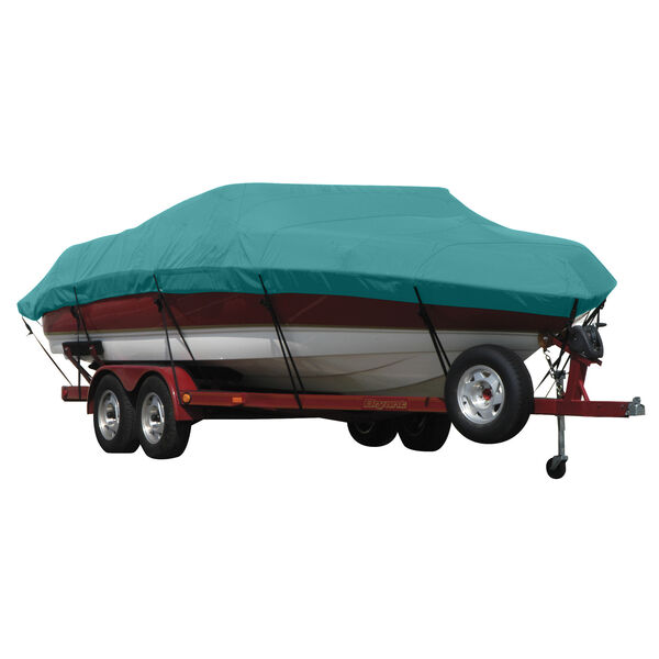 Exact Fit Covermate Sunbrella Boat Cover For Stingray 215 Lr W/Bimini Laid Down, Front Ladder And Stbd Rear I/O