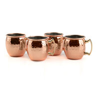 Cambridge Hammered Copper Mini Moscow Mule Mug Shot Glasses, Set of 4