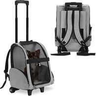 KOPEKS Deluxe Backpack Pet Travel Carrier with Wheels - Heather Gray - Approved by Most Airlines