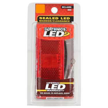 Rectangular LED Clearance/Marker Light; 2 Diode; White Base; Two Wire; Red