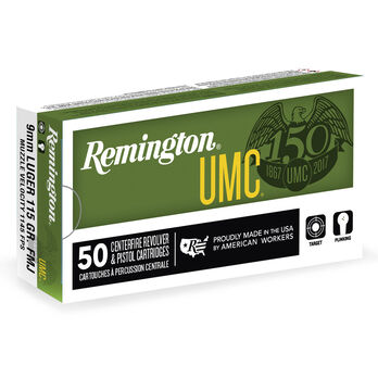 Remington UMC Handgun Ammunition, 9mm Luger, 147-gr., FMJ, 50 Rounds