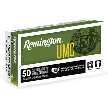 Remington UMC Handgun Ammunition, 9mm Luger, 147-gr., FMJ, 50 Rounds