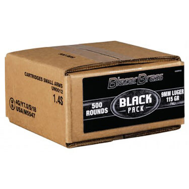 Federal Black 9mm Luger Blazer Brass Box (500ct)