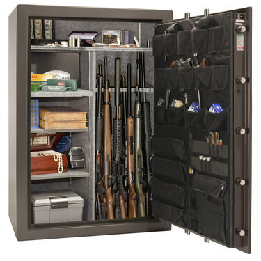 Liberty Fatboy LF64 64-Gun Safe, Elec. Lock, Gray Marble Gloss, Black Chrome