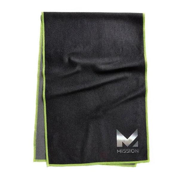 Mission HydroActive Max Large Cooling Towel, Jet Black/Hi-Vis Green