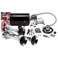 Compact Chrome Triple Truck Air Horn Kit