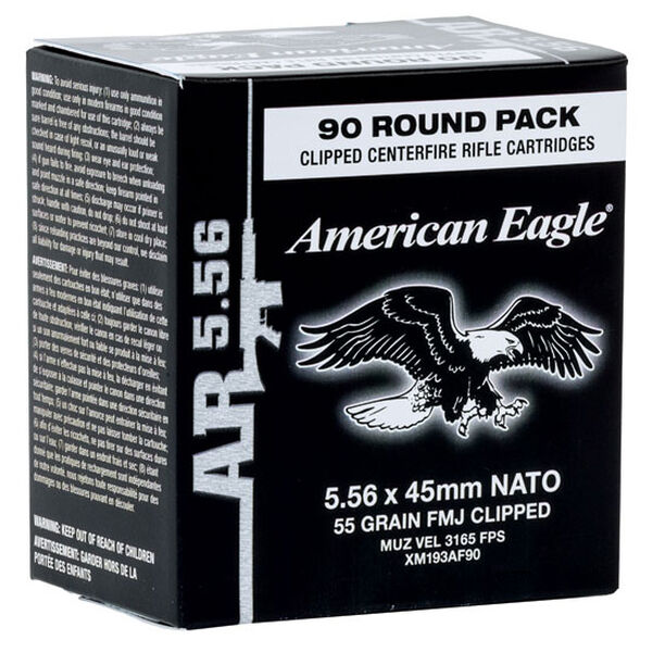 American Eagle Ammo 5.56x45mm Full Metal Jacket Boat-Tail Ammo, 55-gr.
