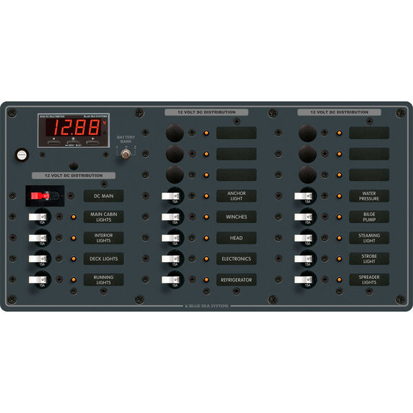 Blue Sea Systems Panel, DC Main + 20 Positions w/Digital Multi-Function Meter