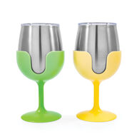 Stainless Steel Wine Tumbler with Removable Stem, 2-Pack, Green/Yellow