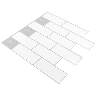 "Peel-and-Stick Mosaic Wall Tile, 10"" x 10"", White Subway Glossy Composite"