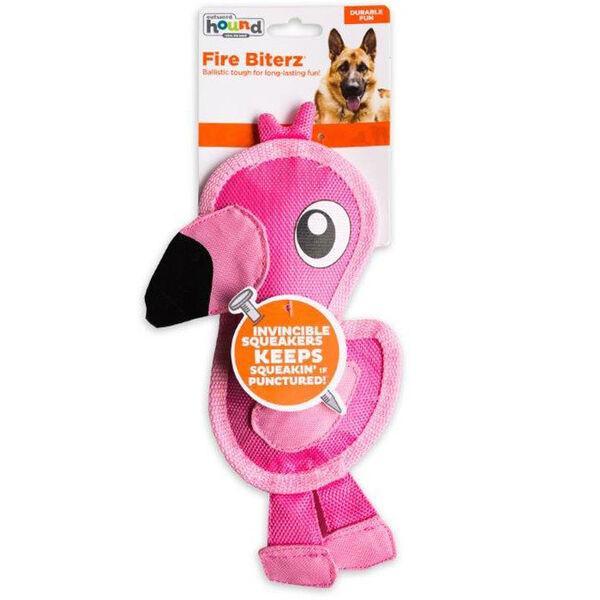 Outward Hound Small Fire Biterz Flamingo Dog Toy