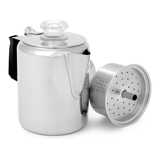 GSI Outdoors Glacier 9-Cup Stainless Steel Percolator w/ Silicone Handle, 65209
