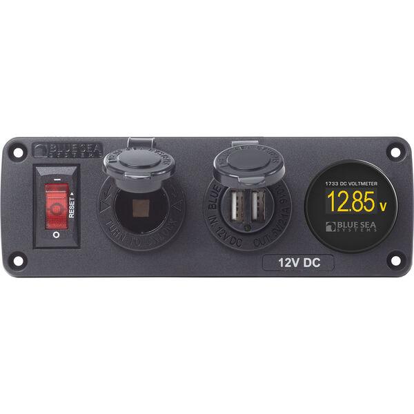 BelowDeck Panel w/Circuit Breaker, 12V Socket, Dual USB Charger, Mini Voltmeter