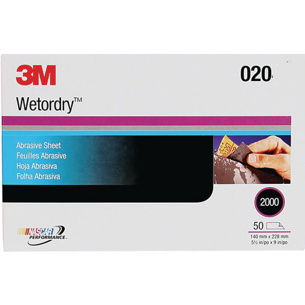 "3M Wetordry Sandpaper, 9"" x 11"", P800 Grit, 50-Pack"