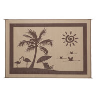 Reversible Paradise Design Patio Mat, 8' x 11', Beige