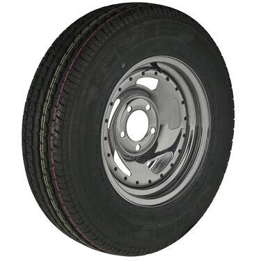 Trailer King II ST215/75 R 14 Radial Trailer Tire, 5-Lug Chrome Directional Rim