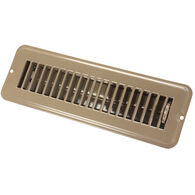 "JR Products 2"" x 10"" Dampered Metal Floor Register, Brown"