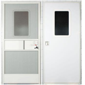 "Replacement RV Entrance Doors, Polar White Square Corner Door, Right Hand - 24"" x 72"""