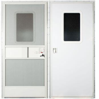 Replacement RV Entrance Doors, Polar White Square Corner Door, Right Hand -  24
