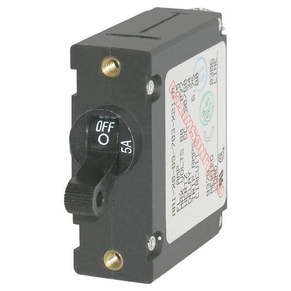 Blue Sea Circuit Breaker A-Series Toggle Switch, Single Pole, 5A, Black